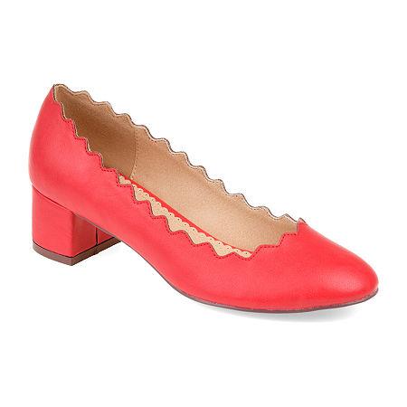 Journee Collection Womens Maybn Pumps Slip-on Round Toe Kitten Heel, 6 Medium, Red
