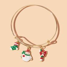 Christmas Snowman Bangle Bracelet