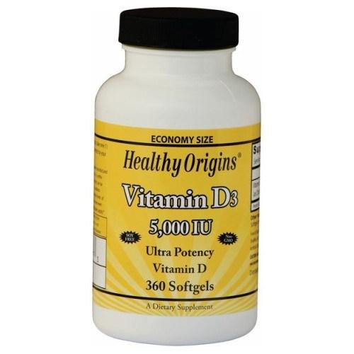 Vegetarian Vitamin D3 5000 IU 360 Veggie Gels by Healthy Origins