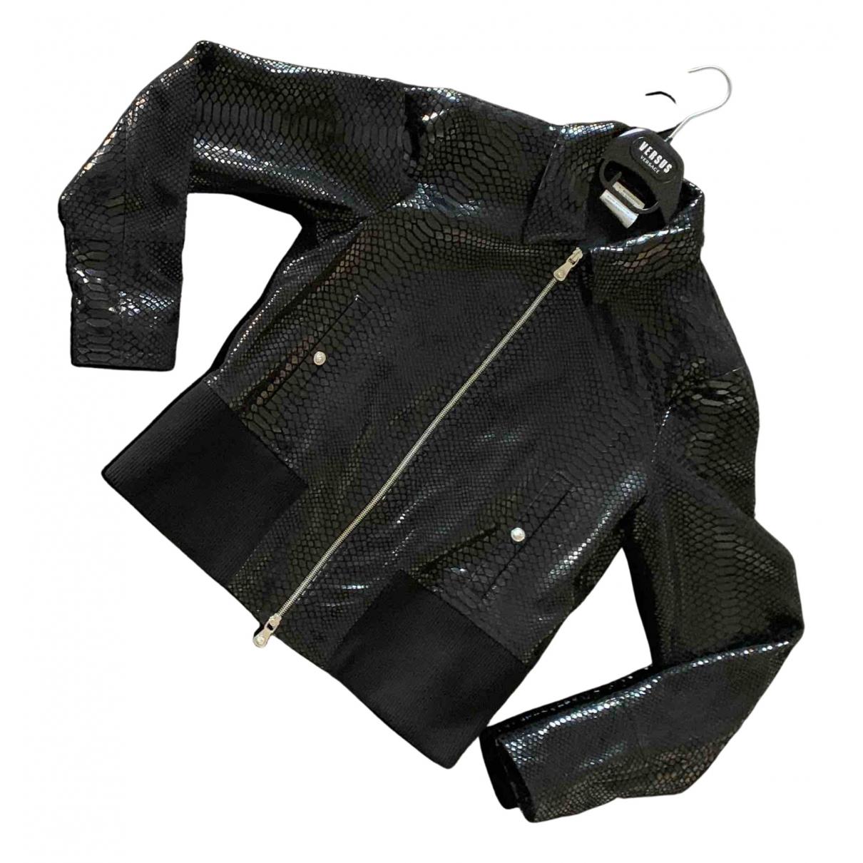 Versace - Vestes.Blousons   pour homme en cuir exotique - noir