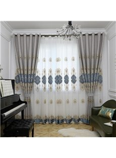 Europe Type Sitting Room Gray Hand-made Embroider Sheer Curtain