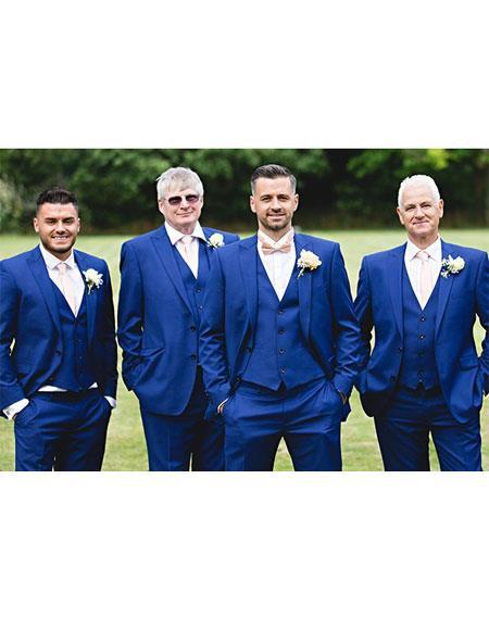 Mens Single Breasted 2 Button Royal Blue Peak Lapel Vested Suit