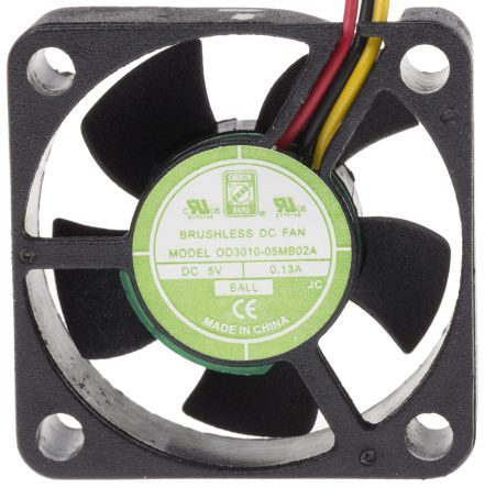 RS PRO , 5 V dc, DC Axial Fan, 30 x 30 x 10mm, 6.8m³/h, 400mW, IP55