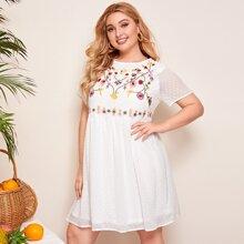 Chiffon Kleid mit Blumen Stickereien und Punkten Muster