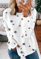 Star O-Neck Pullover Sweatshirt - White