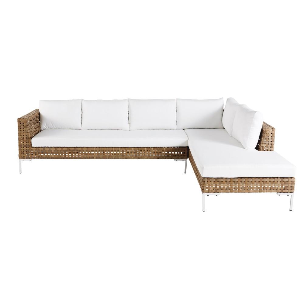 6-Sitzer-Gartenecksofa aus Kunstharzgeflecht, braun Sierra Nevada