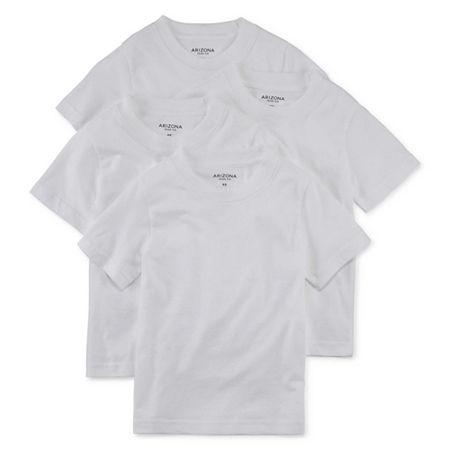 Arizona Little & Big Boys 4 Pack Crew Neck Short Sleeve T-Shirt, Small , White