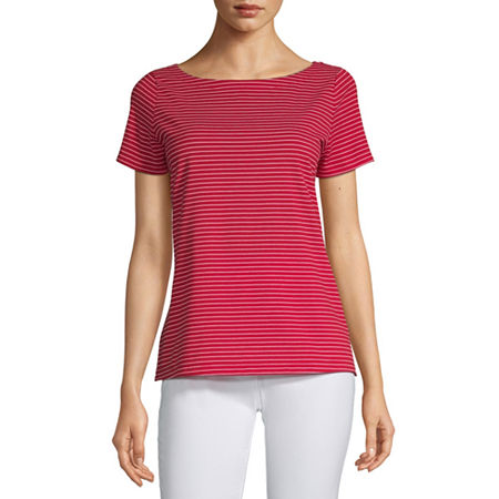 Liz Claiborne Simply-Womens Boat Neck Short Sleeve T-Shirt, Medium , Red