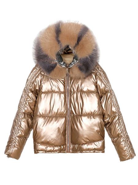 Milanoo de las mujeres Puffer abrigos rosa con capucha de la cremallera de manga larga de vestir exteriores brillante