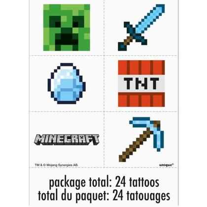 Minecraft 4 Tattoo Sheets/Favors For Birthday Party
