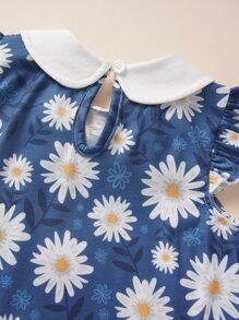 Baby Girl Peter Pan Collar Floral Print Bow Front Dress