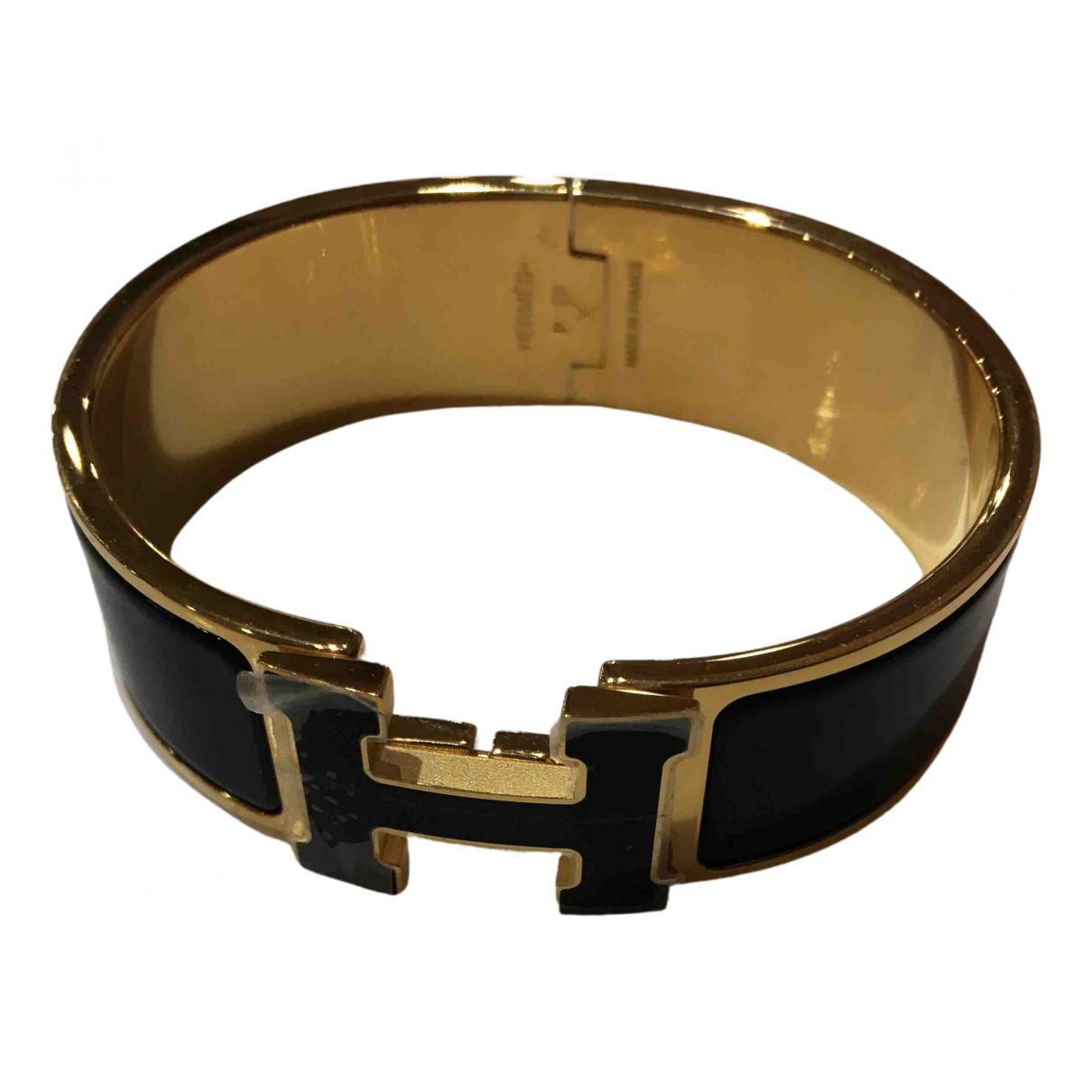 Hermes - Bracelet Cadenas pour femme en plaque or - noir