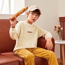 Boys Drop Shoulder Letter Embroidery Pullover