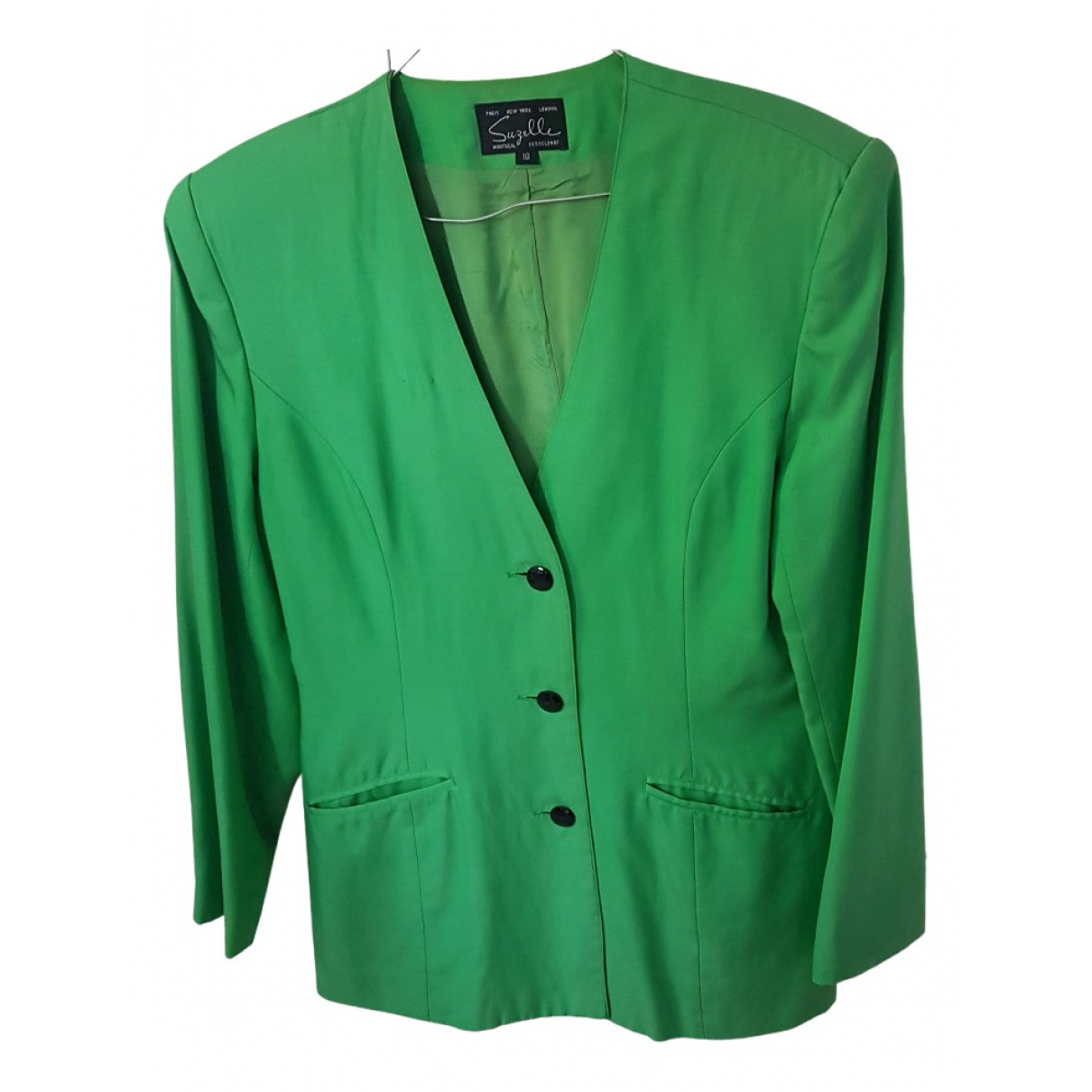 Non Signé / Unsigned N Green Silk jacket for Women 10 US
