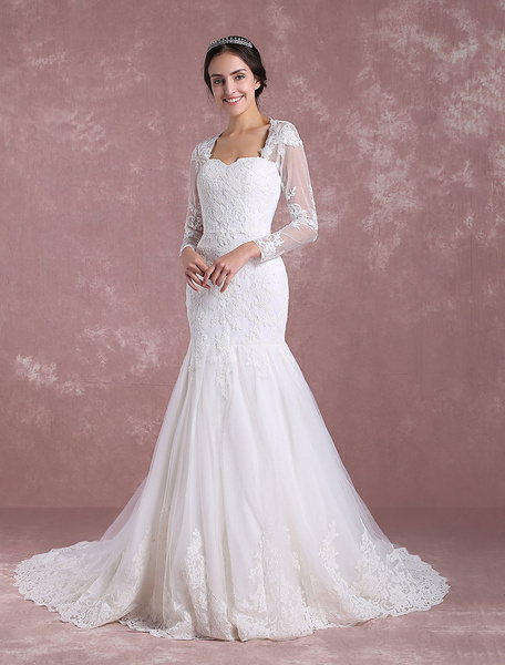 Milanoo Mermaid Wedding Dress Long Sleeve Bridal Dress Lace Applique Anne Queen Collar Cut Out Back Bridal Gown With Chapel Train