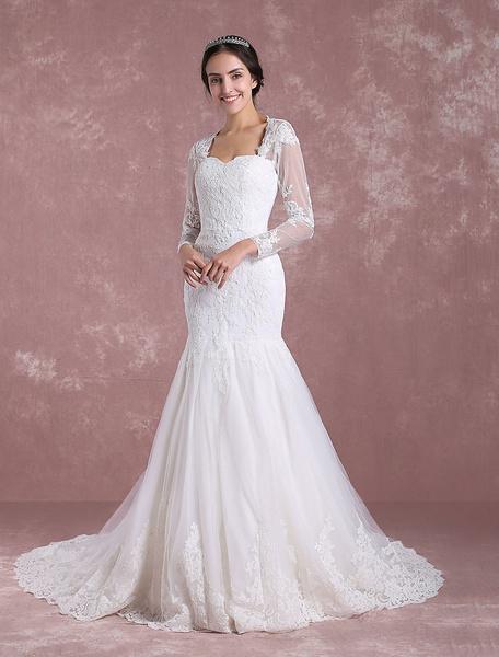 Milanoo Sirena vestido de novia de manga larga nupcial vestido de encaje de encaje Anne Queen collar recortado trasero vestido de novia con tren de la