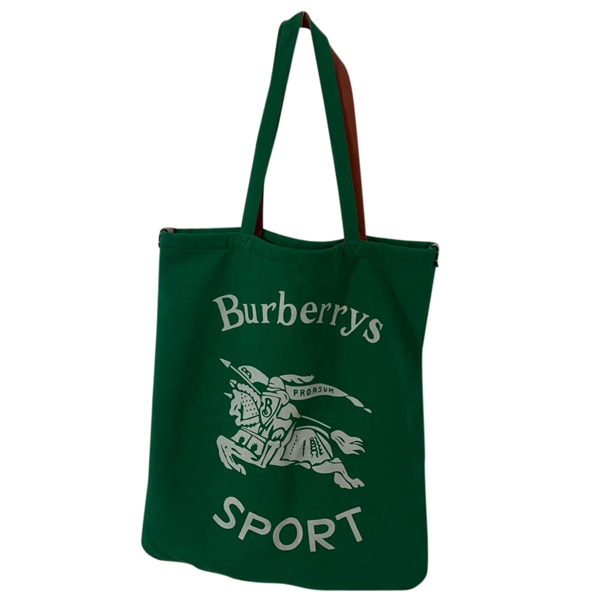 Burberry - Sac a main   pour femme en coton - vert