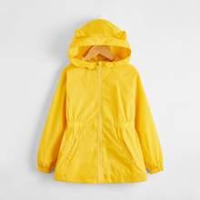 Girls Elastic Waist Zipper Placket Hooded Wind Jacket With Ears