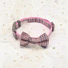 1 Stueck Hund Halsband mit Schleife Dekor und Karo Muster