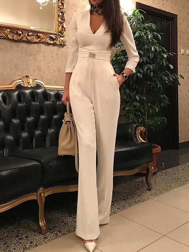 Ericdress Plain Full Length Straight High Waist Jumpsuit