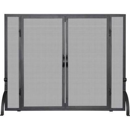 S-1044 Single Panel Black Wrought Iron Screen with Doors