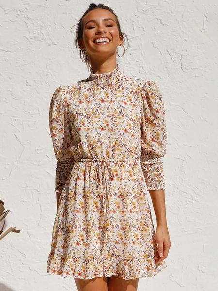 Milanoo Chiffon Skater Dresses Floral Print Yellow Stand Collar Half Sleeves Ruffle Short Dress
