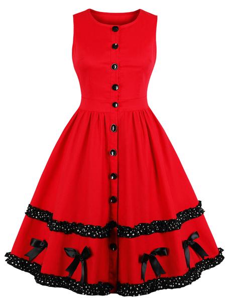Yoins Red Bowknot Round Neck Sleeveless Dress