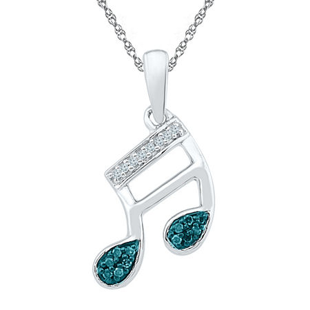 Womens Diamond Accent Blue Diamond Sterling Silver Pendant Necklace, One Size , No Color Family