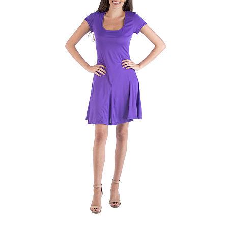 24/7 Comfort Apparel Cap Sleeve Knee Length Mini Dress, X-large , Purple