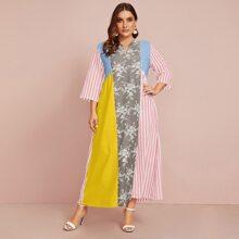 Kleid mit Streifen, Farbblock und Blumen Muster