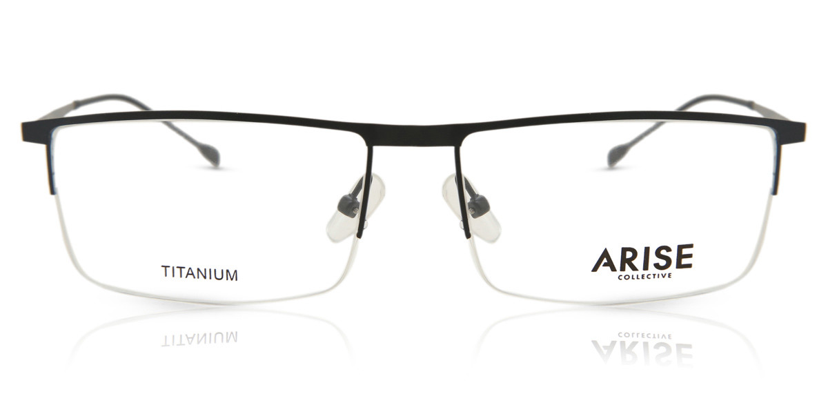 Square Full Rim Plastic Men's Glasses Discount Black Size 57 - Free Lenses - HSA/FSA Insurance - Blue Light Block Available - Arise Collective