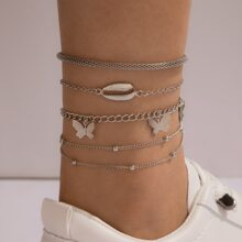 5pcs Star & Butterfly Charm Chain Anklet