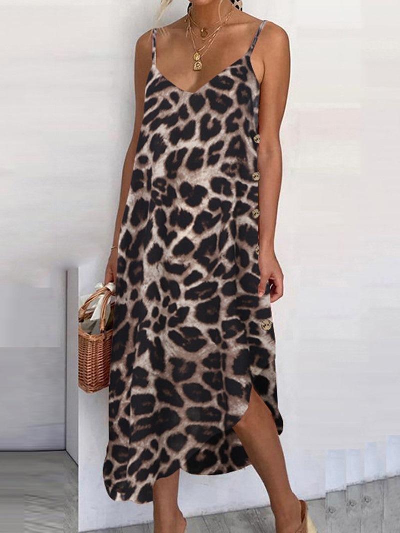 Ericdress Mid-Calf V-Neck Asymmetric Casual Leopard Dress