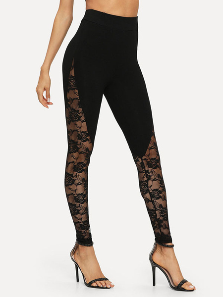 Milanoo Yoga Pants Black Lace Insert Workout Leggings