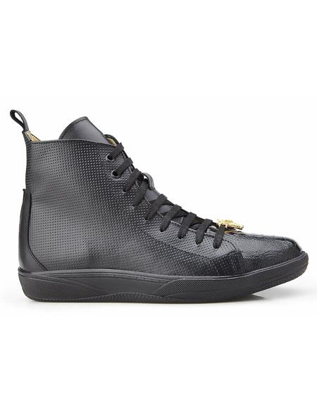 Mens Ostrich and Italian Calf Black Lace Up Sneaker Belvedere Shoe