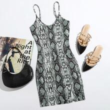 Figurbetontes Cami Kleid mit Schlangenleder Muster