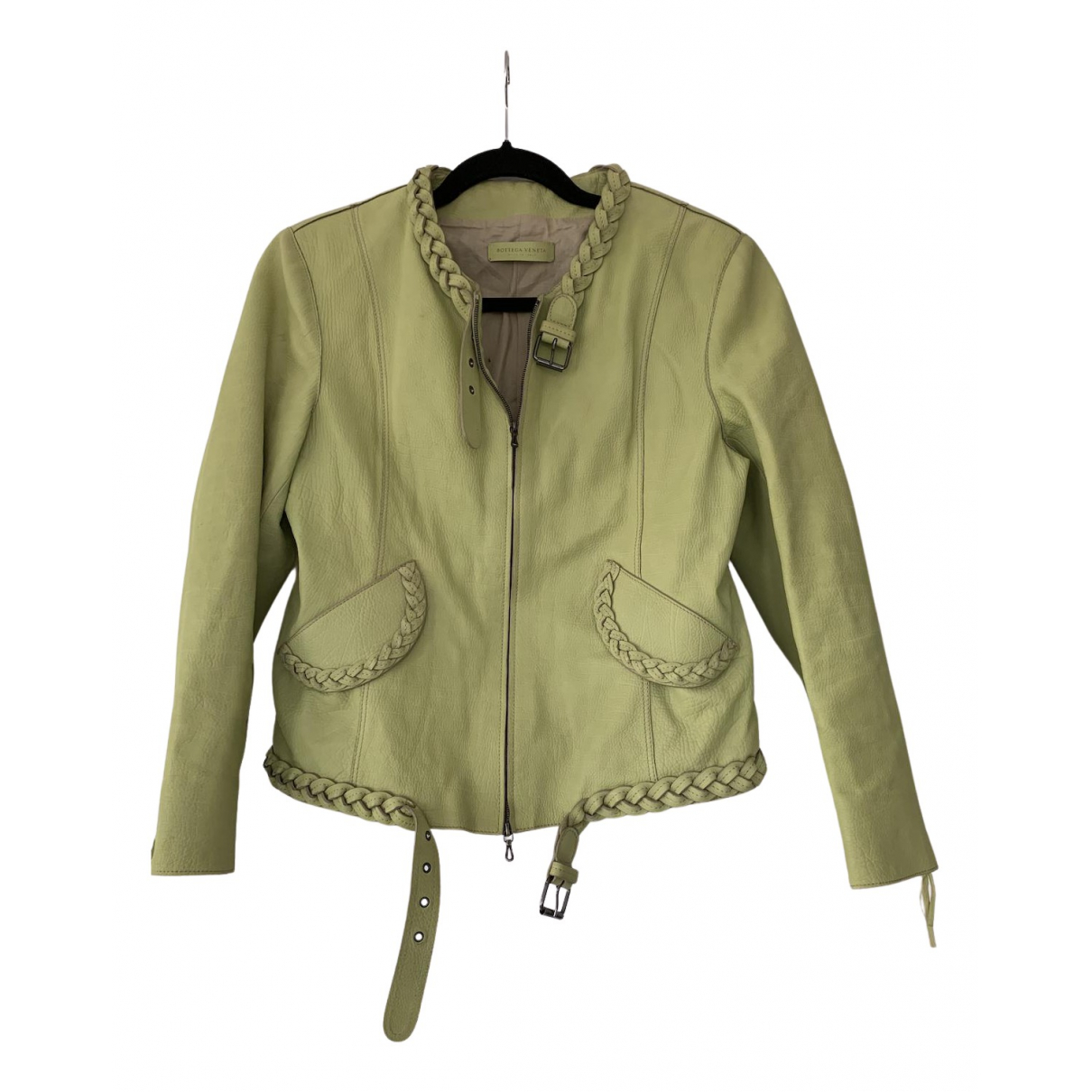 Bottega Veneta N Green Leather Leather jacket for Women 46 IT