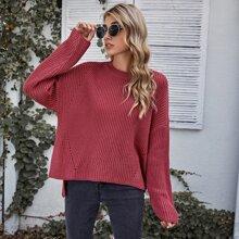 Solid Drop Shoulder High Low Sweater