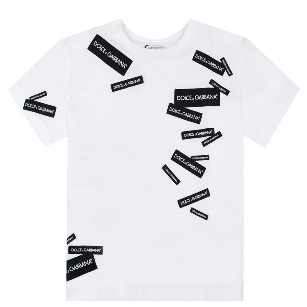 Dolce & Gabbana Kids Labled T-Shirt Colour: WHITE, Size: 8 YEARS