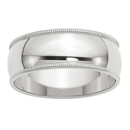 8MM Sterling Silver Wedding Band, 6 , No Color Family