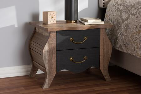 BR990063-BLACK/OAK-2DW-NS Baxton Studio Romilly Country Cottage Farmhouse Black and Oak-Finished Wood 2-Drawer
