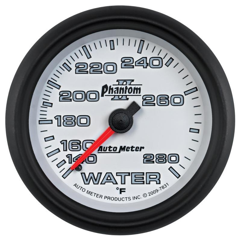 AutoMeter GAUGE; WATER TEMP; 2 5/8in.; 140-280deg.F; MECHANICAL; PHANTOM II