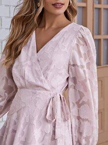 Wrap Tie Side Jacquard Dress