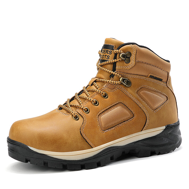 Men Outdoor Waterproof Slip Resistant Leather Hiking Boots