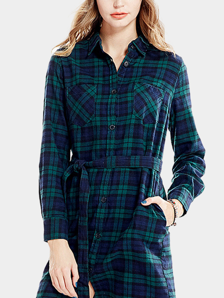 Yoins Navy and Green Grid Long Sleeves Dress with Self-tie Waist