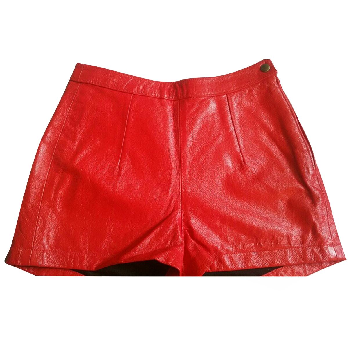Agolde - Short   pour femme en cuir - rouge