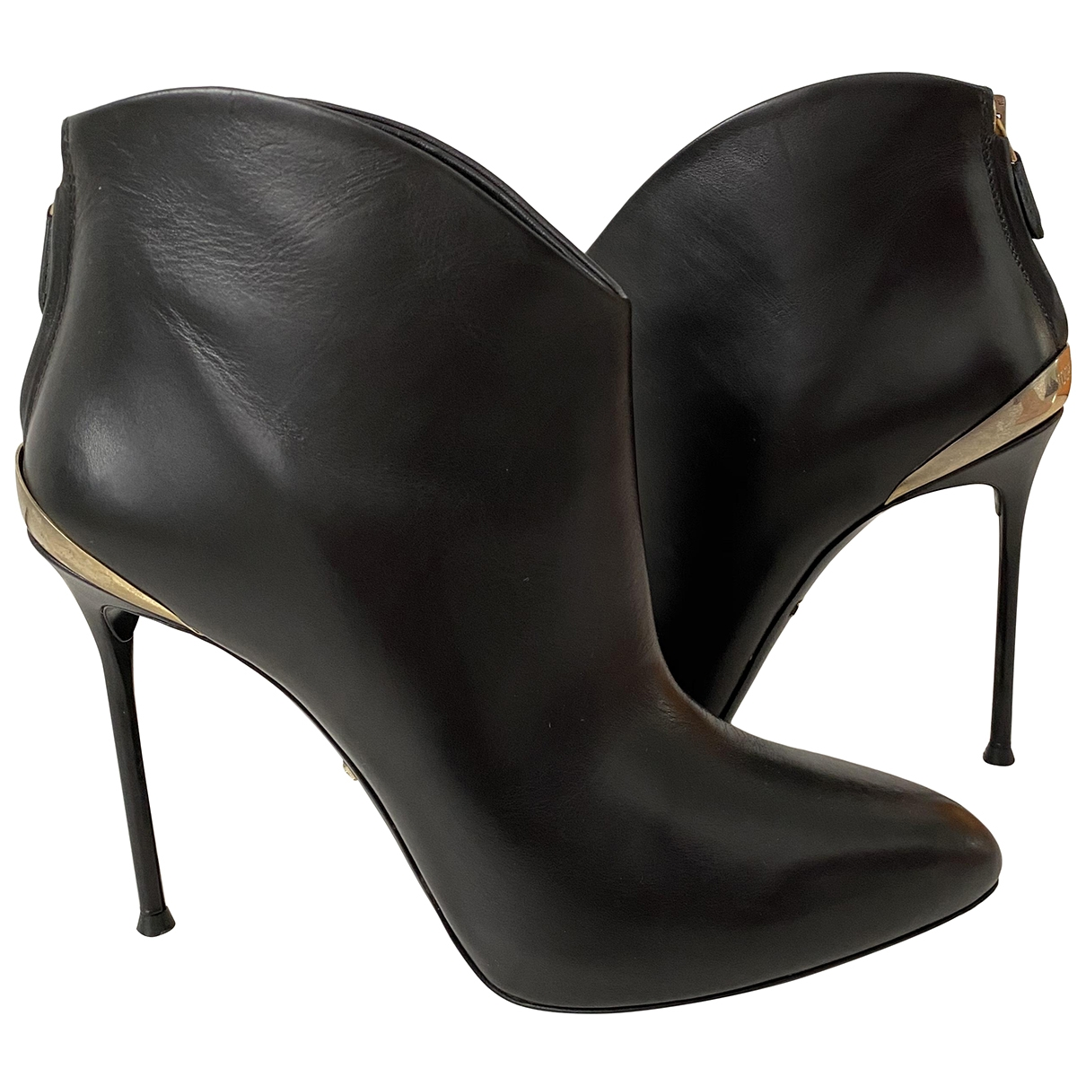Roberto Cavalli \N Black Leather Ankle boots for Women 38 EU