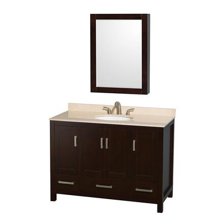 WCS141448SESIVUNOMED 48 in. Single Bathroom Vanity in Espresso  Ivory Marble Countertop  Undermount Oval Sink  and Medicine