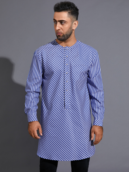 Yoins Men Casual Striped Ethnic Print Midi Length Button Front Shirt