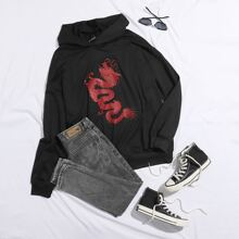 Chinese Dragon Graphic Longline Oversized Hoodie